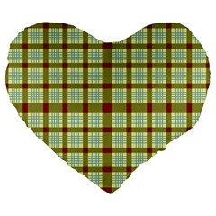 Geometric Tartan Pattern Square Large 19  Premium Flano Heart Shape Cushions