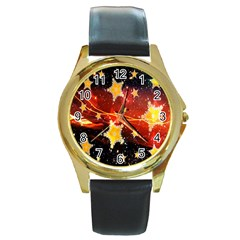 Holiday Space Round Gold Metal Watch