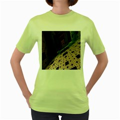 Industry Fractals Geometry Graphic Women s Green T-Shirt