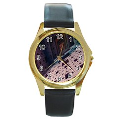 Industry Fractals Geometry Graphic Round Gold Metal Watch