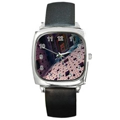 Industry Fractals Geometry Graphic Square Metal Watch
