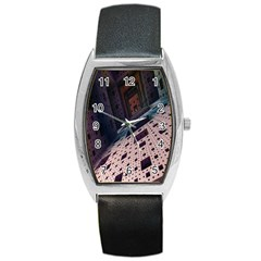 Industry Fractals Geometry Graphic Barrel Style Metal Watch