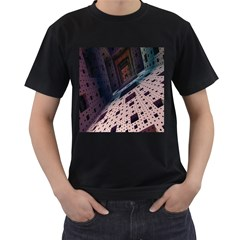 Industry Fractals Geometry Graphic Men s T-Shirt (Black) (Two Sided)
