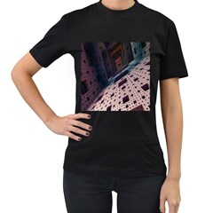 Industry Fractals Geometry Graphic Women s T-Shirt (Black) (Two Sided)