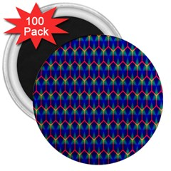 Honeycomb Fractal Art 3  Magnets (100 Pack)
