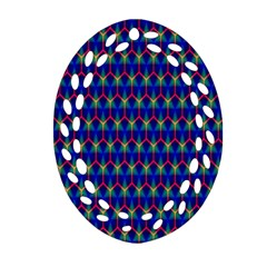 Honeycomb Fractal Art Oval Filigree Ornament (Two Sides)
