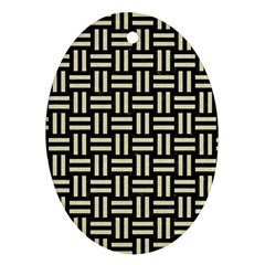 Woven1 Black Marble & Beige Linen Oval Ornament (two Sides)