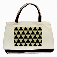Triangle3 Black Marble & Beige Linen Basic Tote Bag (two Sides)