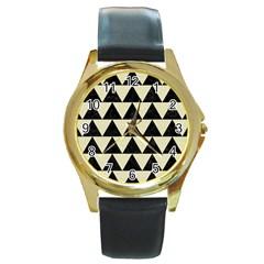 Triangle2 Black Marble & Beige Linen Round Gold Metal Watch