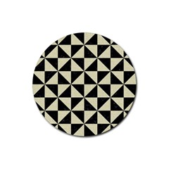 Triangle1 Black Marble & Beige Linen Rubber Round Coaster (4 Pack)
