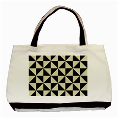 Triangle1 Black Marble & Beige Linen Basic Tote Bag (two Sides)