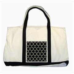 Tile1 Black Marble & Beige Linen Two Tone Tote Bag