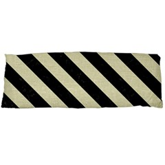 Stripes3 Black Marble & Beige Linen (r) Body Pillow Case Dakimakura (two Sides)