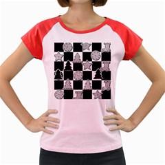 Xmas Checker Women s Cap Sleeve T-Shirt