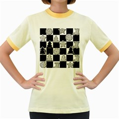 Xmas Checker Women s Fitted Ringer T-Shirts