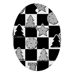 Xmas Checker Oval Ornament (Two Sides)