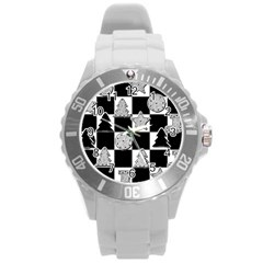 Xmas Checker Round Plastic Sport Watch (L)