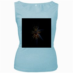 Star Light Decoration Atmosphere Women s Baby Blue Tank Top