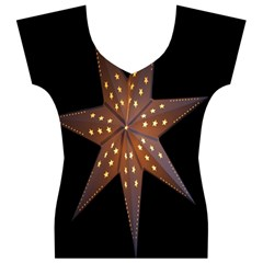 Star Light Decoration Atmosphere Women s V-Neck Cap Sleeve Top