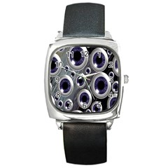 Eyeballs Pattern Square Metal Watch