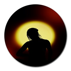 Silhouette Woman Meditation Round Mousepads