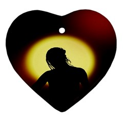 Silhouette Woman Meditation Ornament (Heart)