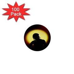 Silhouette Woman Meditation 1  Mini Buttons (100 pack)