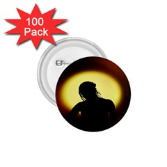Silhouette Woman Meditation 1.75  Buttons (100 pack)