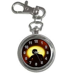 Silhouette Woman Meditation Key Chain Watches