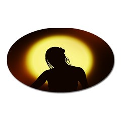 Silhouette Woman Meditation Oval Magnet