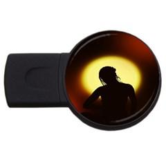Silhouette Woman Meditation USB Flash Drive Round (1 GB)