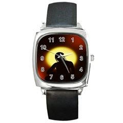 Silhouette Woman Meditation Square Metal Watch