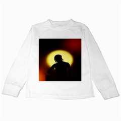 Silhouette Woman Meditation Kids Long Sleeve T-Shirts
