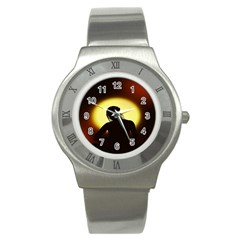Silhouette Woman Meditation Stainless Steel Watch