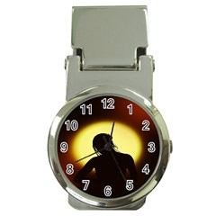Silhouette Woman Meditation Money Clip Watches