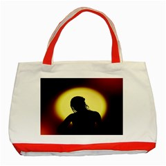 Silhouette Woman Meditation Classic Tote Bag (Red)