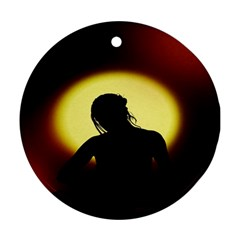 Silhouette Woman Meditation Round Ornament (Two Sides)