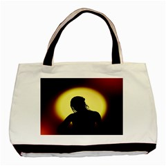 Silhouette Woman Meditation Basic Tote Bag (two Sides)