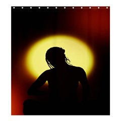 Silhouette Woman Meditation Shower Curtain 66  x 72  (Large)