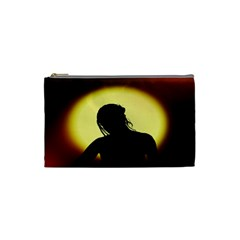 Silhouette Woman Meditation Cosmetic Bag (small)