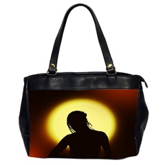 Silhouette Woman Meditation Office Handbags (2 Sides)