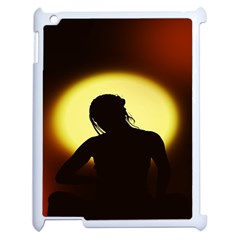 Silhouette Woman Meditation Apple iPad 2 Case (White)