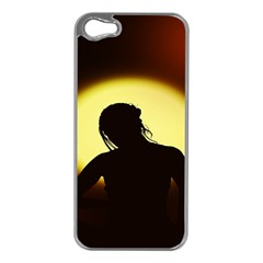 Silhouette Woman Meditation Apple Iphone 5 Case (silver)