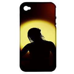 Silhouette Woman Meditation Apple Iphone 4/4s Hardshell Case (pc+silicone)