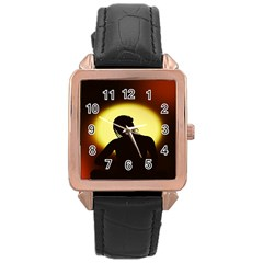 Silhouette Woman Meditation Rose Gold Leather Watch