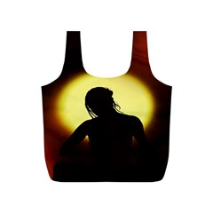Silhouette Woman Meditation Full Print Recycle Bags (S)