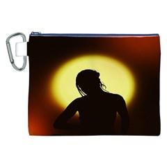 Silhouette Woman Meditation Canvas Cosmetic Bag (XXL)