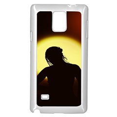 Silhouette Woman Meditation Samsung Galaxy Note 4 Case (White)