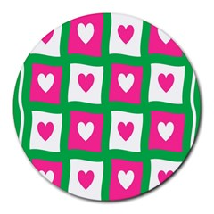 Pink Hearts Valentine Love Checks Round Mousepads