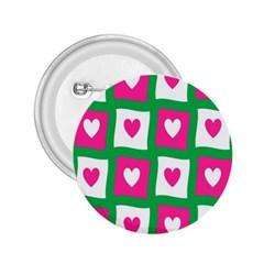 Pink Hearts Valentine Love Checks 2 25  Buttons